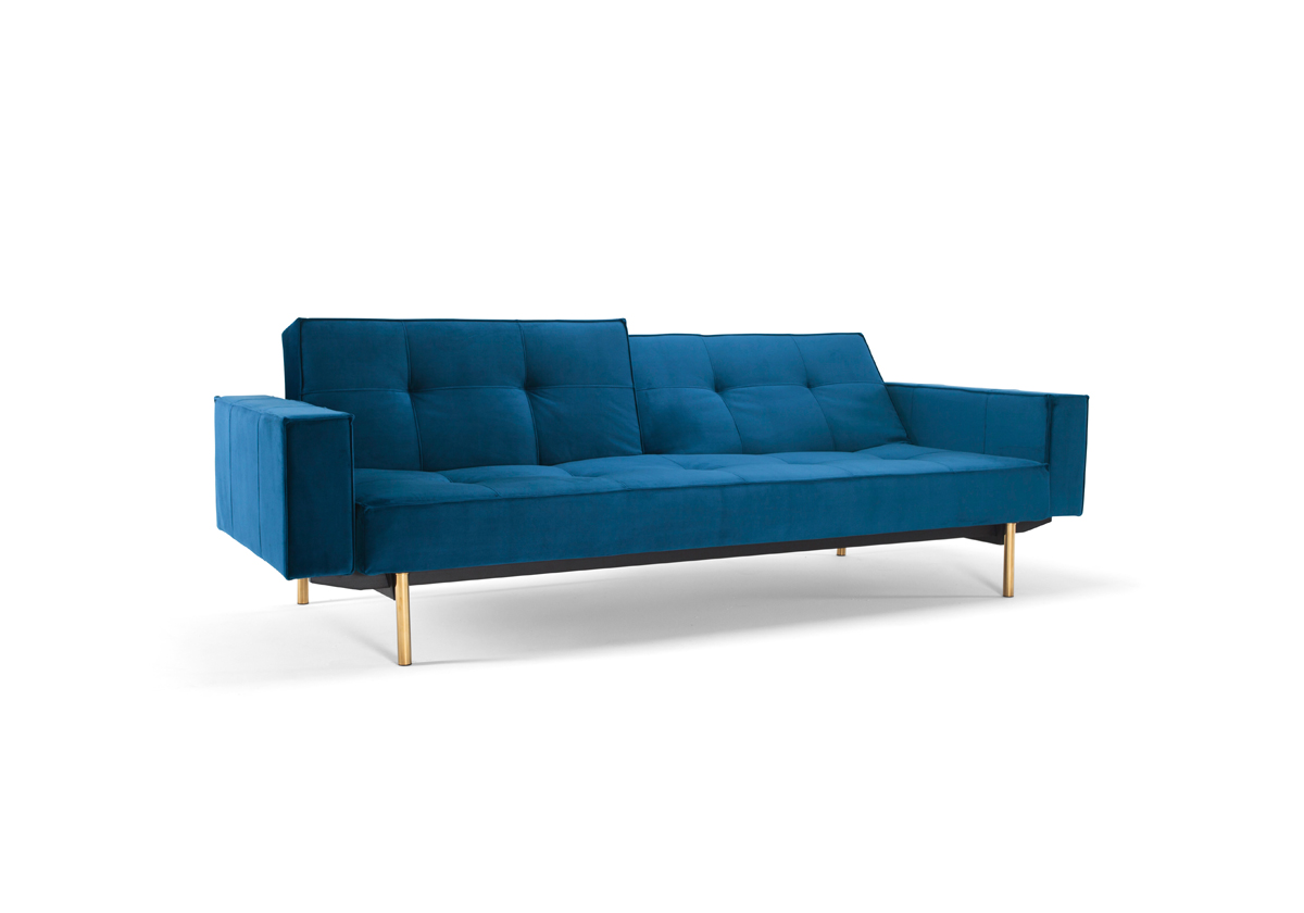 Splitback Sofa bed with Arms and Brass Legs